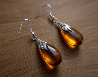 golden drop silver earrings