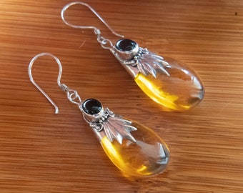 Golden light earrings, 925 sterling silver, black onyx,  amber colored resin, Bali jewelry, Boho, affordable luxury