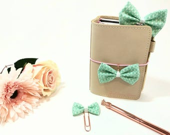 Mint Fabric Bow Planner Clips and Charms