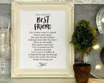 Personalized Best Friend Poem Print Keepsake Gift Printable Sign Idea Black White INSTANT DOWNLOAD
