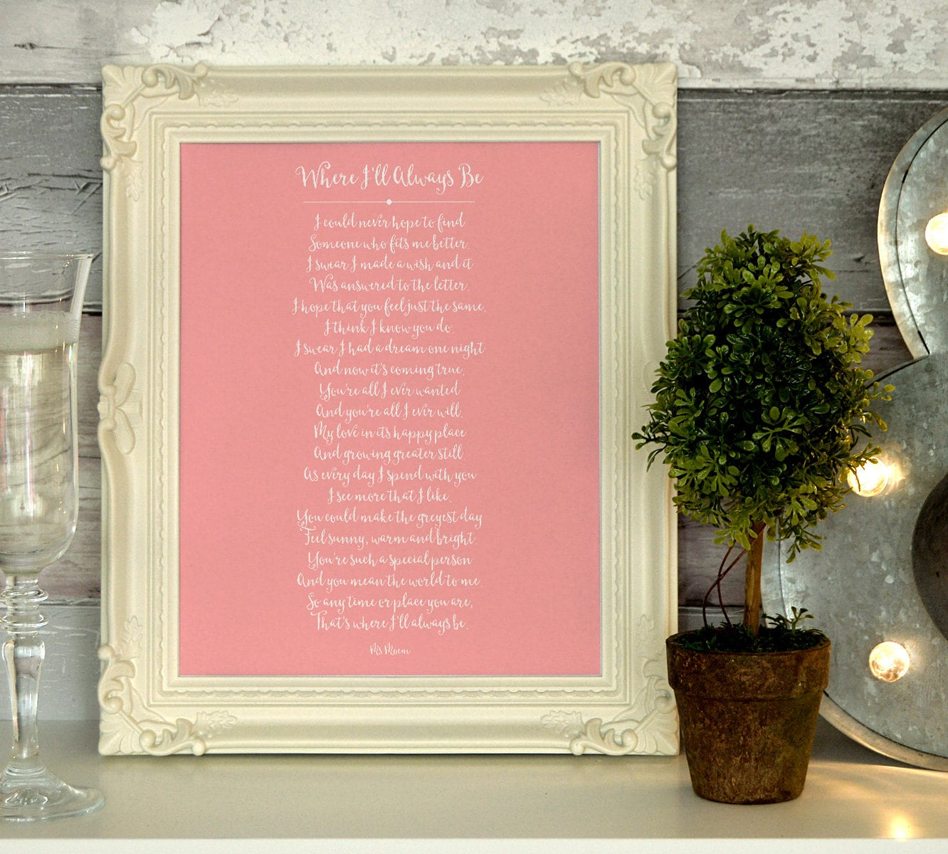 wedding keepsake poem where I\'ll always be by ms moem | Etsy