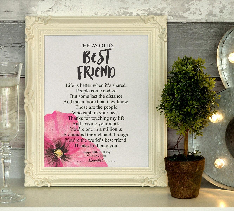 Best Friend Friendship 30th Birthday Birthday Poem Gift Personalized By You