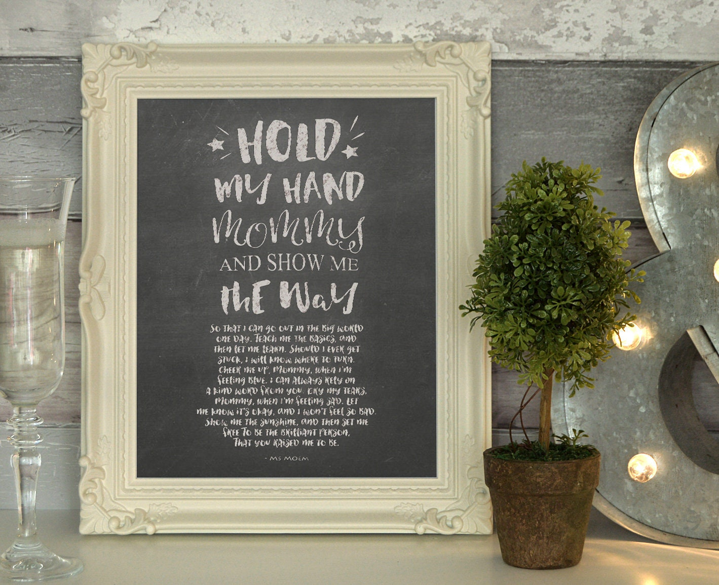 Chalkboard Art Poem For Mothers Hold My Hand Mommy By Ms Moem Printable  Instant Download || 8 BY 10 inch || New Mum Baby Shower Gift