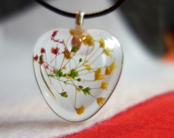 Baby's breath encased in a puffy heart resin pendant, green, yellow, red, necklace jewelry, real flower pendant jewelry floral necklace