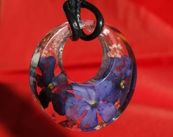 Purple verbana real pressed flower donut shaped circle resin pendant necklace jewelry, Queen Anne's Lace, resin encasing real pressed flower