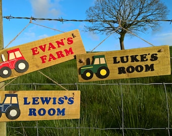 Rustic wooden personalised tractor sign