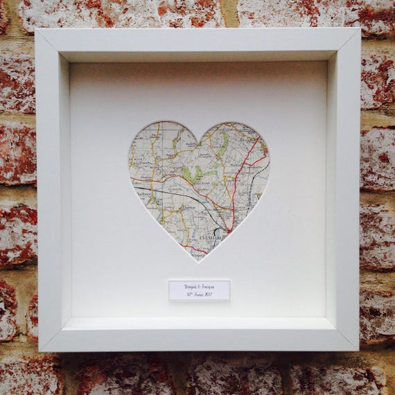 Personalised Map Heart Frame | Etsy