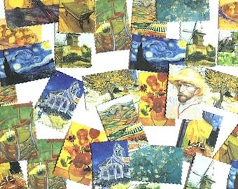 45 Pcs Van Gogh Sticker, Sunflower Stamp Sticker, Starry Starry Night Filofax Stickers, Scrapbook, Impressionism Schedule Sticker, Canvas