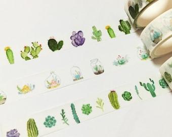 Cacti Washi Tape, Succulents Washi Tape, Cactus Washi Masking Tape, Nature Washi Tape, Watercolor, Terrarium, Plant Jar, Potted Plants