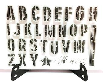 Distressed Grunge Alphabet Stamp, Alphabets Clear Transparent Stamp, Rubber Stamp, Planner, Upper Case,Block Letters,Stencil,Splatter Splash