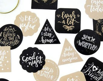 45 Pcs Positive Quotes Sticker, Greetings Sticker, Motivational Quote, Scrapbook, Junk Journal Kit, Journal Ephemera, Inspirational
