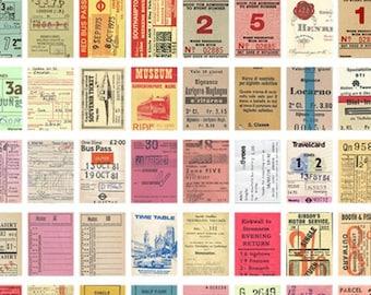 50 Pcs Vintage Ticket Washi Sticker, Sticker Pad, Booklet, Travel Journal, Bullet Journal, Retro, Antique, Tickets, Bus, Numbers, Ephemera