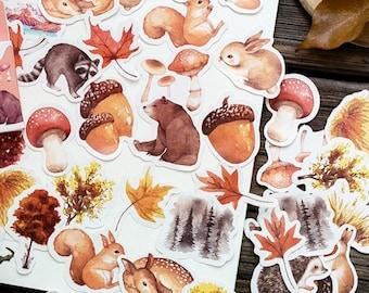 45 Pcs Autumn Planner Sticker, Fall Sticker Flakes, Forest Filofax Sticker, Scrap booking, Acorn, Fir Cone, Leaves, Animals,Rabbit, Squirrel