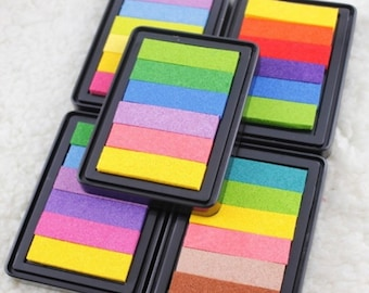 1 pc Colorful Ink Pad, Rainbow Inkpad, Multi- Color Craft Inkpad, Stamp Pad, Rubber Stamp Seal, Clear Stamp, Rainbow Ink