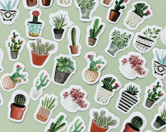 45 Pcs Cactus Sticker, Cacti Sticker Flakes, Potted Plants Filofax Stickers, Scrapbook, Succulents Schedule Sticker,Flower Leaves,Watercolor