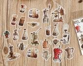 40 Pcs Coffee Washi Sticker, Vintage Coffee Grinder Sticker Flakes, Filofax, Scrap booking, Bullet Journal, Coffee Machine, Beans, Latte
