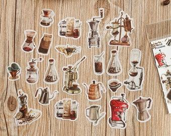 40 Pcs Coffee Washi Sticker, Vintage Coffee Grinder, Scrap booking, Bullet Journal, Journal Ephemera, Coffee Machine, Beans, Latte
