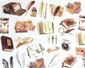 40 Pcs Writing Tools Washi Sticker, Books Sticker, Library, Scrap booking, Bullet Journal, Ephemera, Quill, Ink Bottle, Fountain Pen Nib