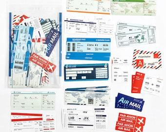30 Pcs Travel Boarding Pass PVC Sticker, Travel PVC Sticker Flakes, Filofax, Scrapbook, Bullet Journal, World, Arrival, Par Avion, Airmail