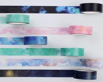 Galaxy Washi Tape, Clouds Washi Tape, Nature Washi Masking Tape, Cosmic Washi Tape, Night Sky, Milky Way, Universe, Starry Night, Planet