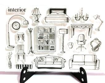 Interior Design Stamp House Living Room Clear Transparent Bedroom Rubber Planner Bullet Journal Sofa Table Lamp BedChair