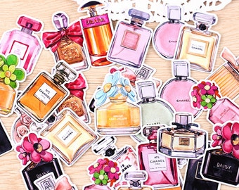 25 Pcs Perfume Sticker Pack, Fashion Sticker Flakes, OOTD Filofax Stickers, Cosmetics Stickers, Makeup, Scent, Junk Journal, Bullet Journal