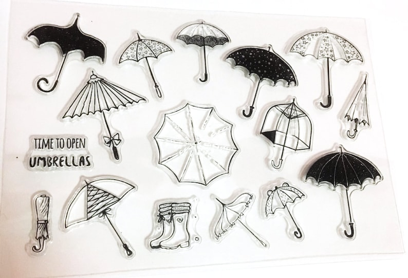 Umbrella Stamp, Rainy Weather Clear Transparent Stamp, Brolly Rubber Stamp,  Bullet Journal, Rain, Wet,Spring,Showers, Summer, Thunder, Boots