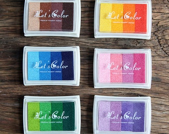 1 pc Colorful Ink Pad, Gradient Inkpad, Multi- Color Craft Inkpad, Stamp Pad, Rubber Stamp Seal, Clear Stamp, Graduated Colors Rainbow Ink