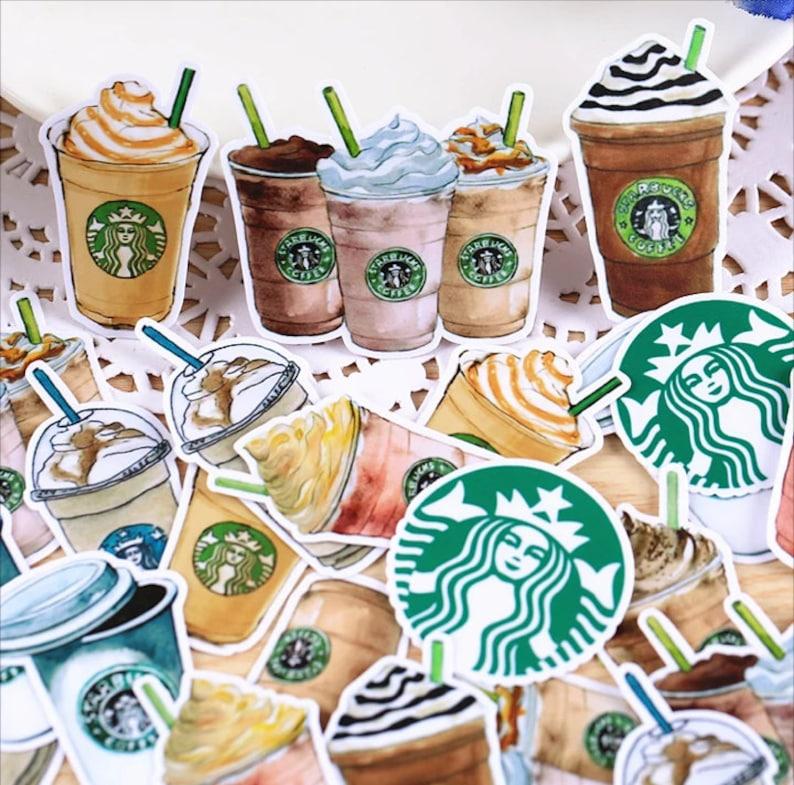 25 Pcs Starbucks Sticker Starbucks Stickers Coffee Scrap image 1