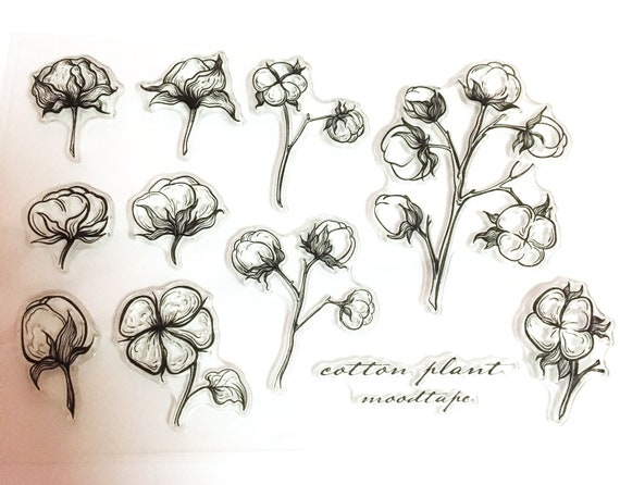 clear Stamp Set  Clear Stamps cotton plant botanical Transparent Stamp S14