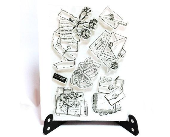 Ancien Tampon Lettres Envoi Par Avion Par Avion Clear Transparent Timbre Timbre De Sceau De Cire Planificateur Bullet Journal Ecrit Des Outils