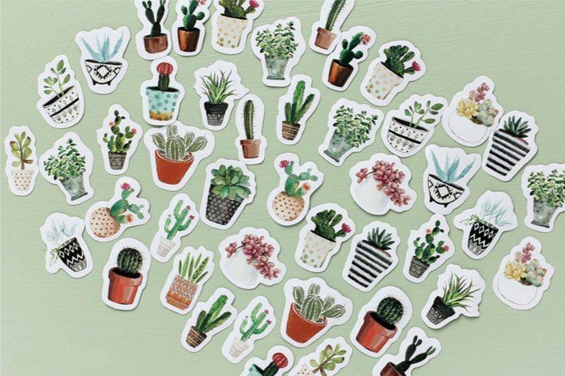 45 Pcs Cactus Sticker Cacti Sticker Flakes Potted Plants image 0