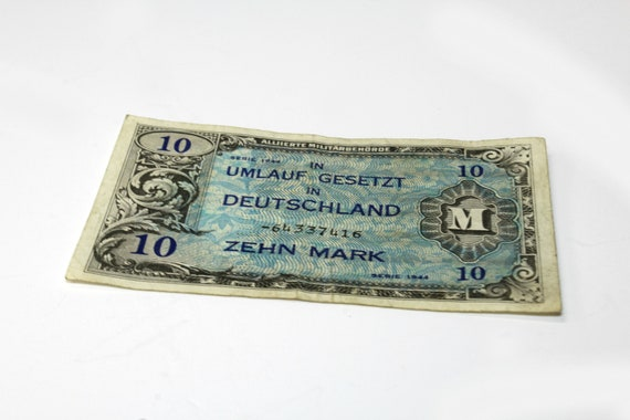 1944 Circulation Law in Germany Ten Mark-Old German Money-Currency-Issued  by Allied Military Authorities-Currency Collectible