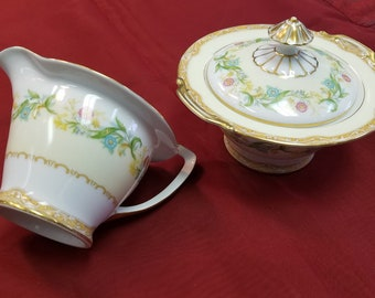 Noritake Cream and Sugar Bowl Pattern Moselle Made in Japan Circa 1930's Floral Ring Spring Flowers Free Shipping