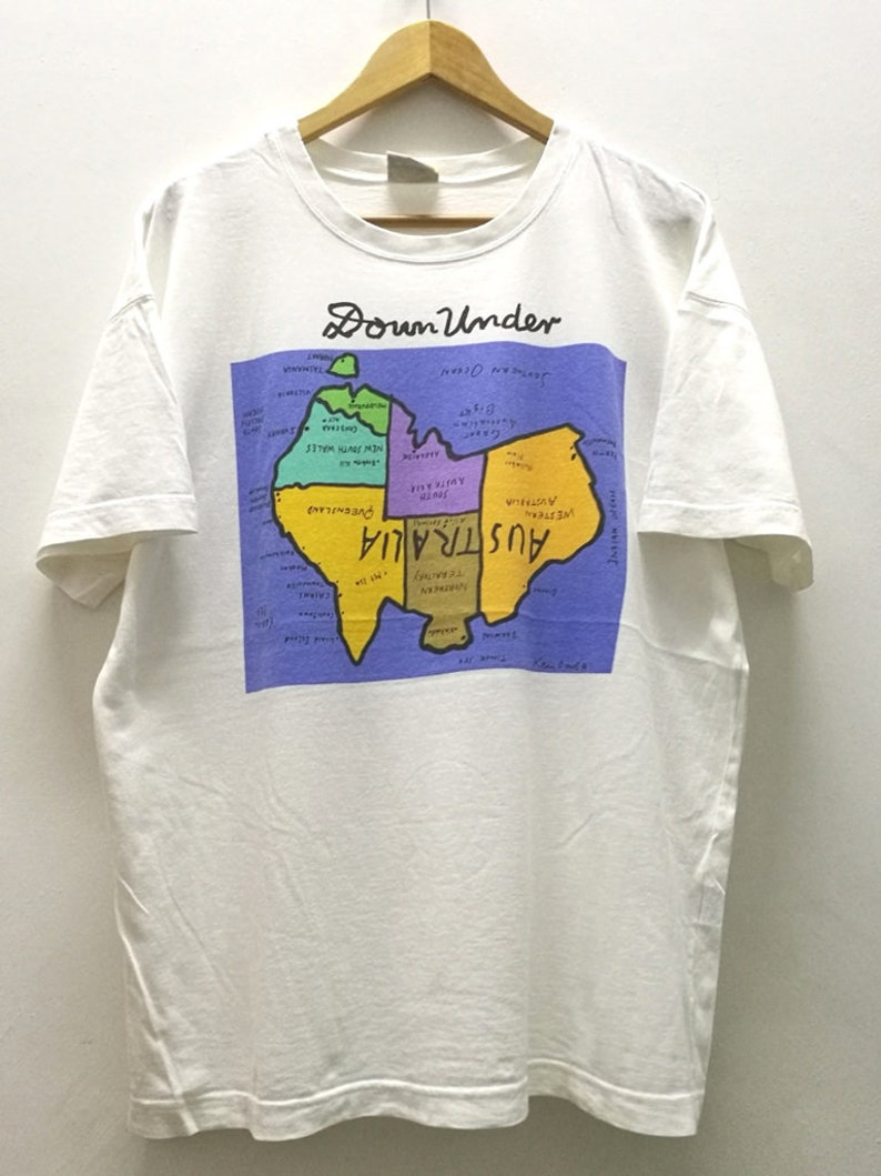 Australia Map Upside.Rare Vintage Ken Done Down Under Upside Down Australia Map Artwork T Tshirt Size L