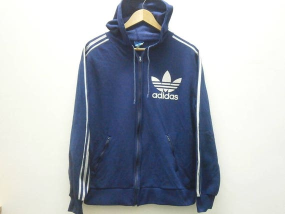 c4f9a53c8d007 Ultra Rare! Vintage 80s ADIDAS VENTEX flock hoodie big logo warm up trainer  jacket size S made in France