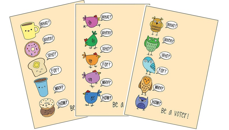 Be a Voter Postcards Talking Owls Breakfast and Hens image 0