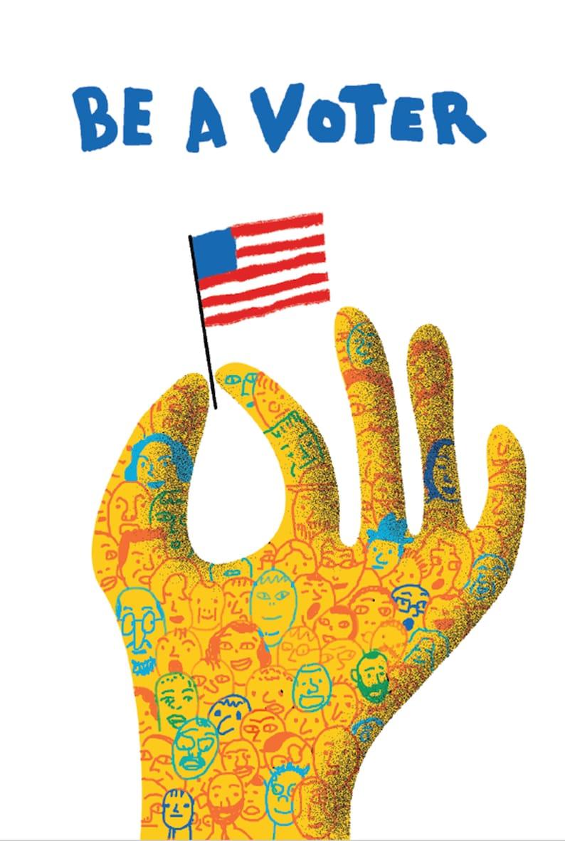 Be a Voter Postcards Hand of Many design 100 Postcards image 1