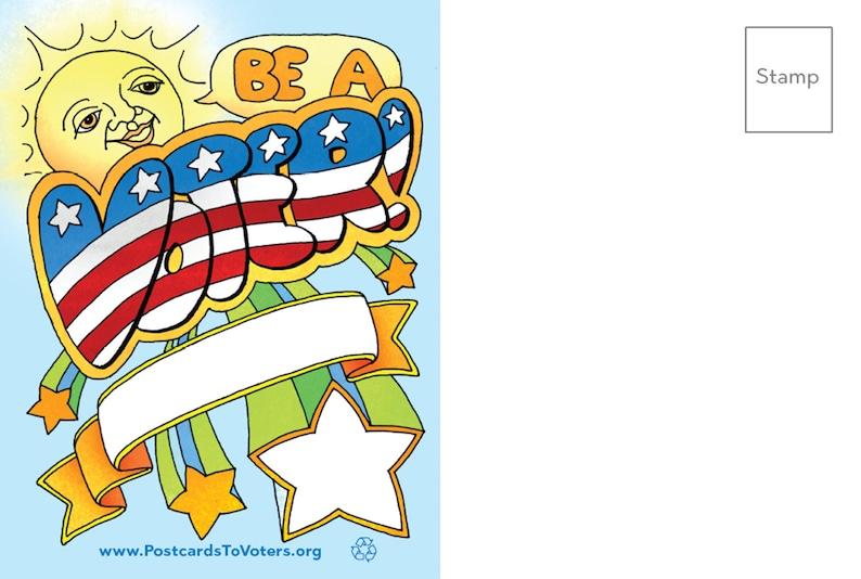 Be a Voter Postcards Sunny design Blank Back 100 Postcards image 0