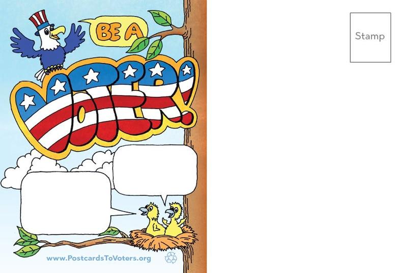Be a Voter Postcards Eagle design Blank Back 100 Postcards image 1