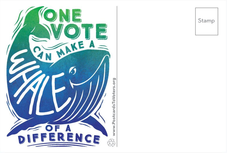 Be a Voter Postcards Whale of a Difference design Blank image 0