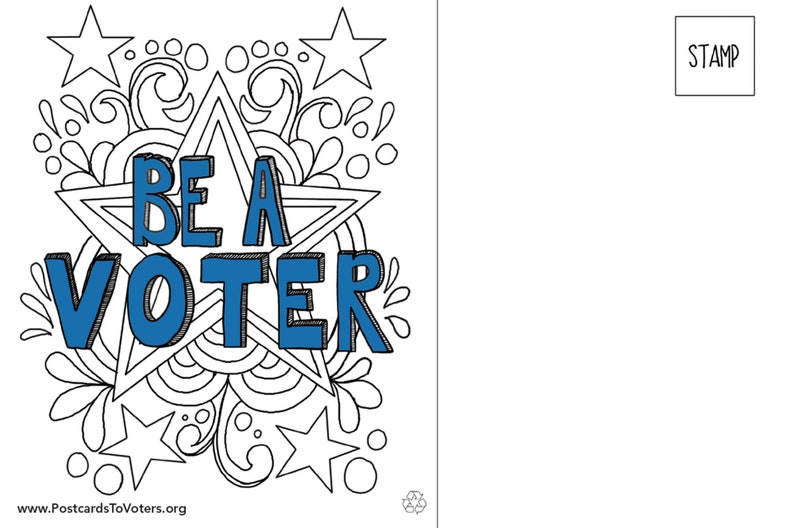 Be a Voter Postcards Coloring Stars design Colorable front image 0