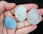 Genuine Sea glass kick ups Rare white blue sea glass Beach found glass Natural sea glass for craft Mermaid nipples Beach found objects