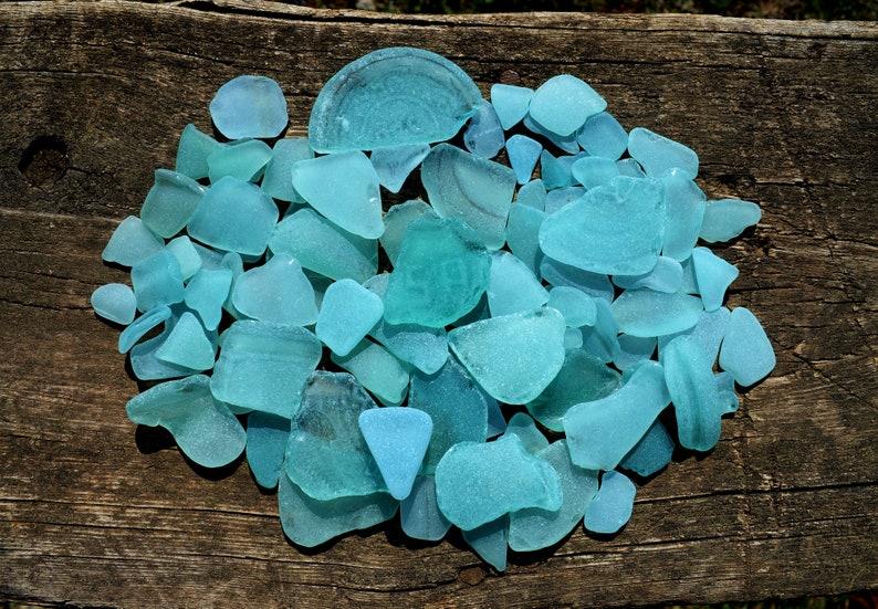 Blue sea glass for sale Beach glass decor Coastal home image 0