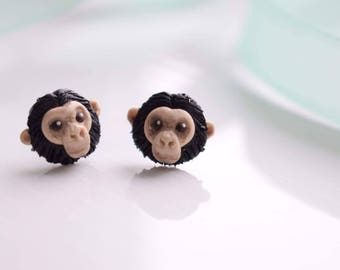 Polymer clay handcrafted earrings chimpanzee monkey ape