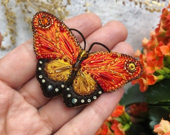 Hand-embroidered Butterfly Brooch - Butterfly pin - Orange butterfly brooch - Beaded butterfly brooch - Embroidered brooch - Beaded brooch
