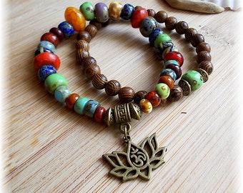 Boho Bracelet set Picasso glass beads wooden Beads