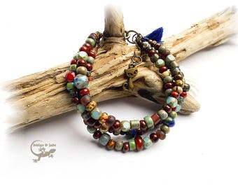 bohemian glass bracelet Multicolor