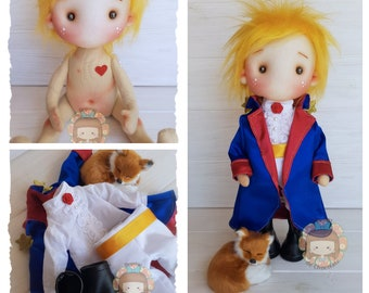 Little Prince doll handmade fabric doll 12.9''