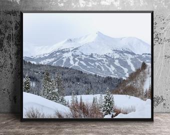 Breckenridge Ski Trails Art Print, Winter Landscape, Mountain Decor, Colorado Wall Art, Summit County Wall Art, Ski Art Print, French Gulch